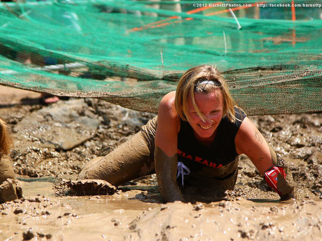 Yampa Valley Bank's Lore Marvin Gettin' Dirty at the Steamboat Mud Run